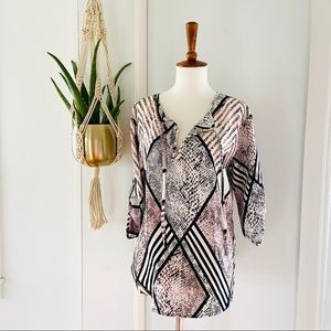 Jack Cubbon Diamond Snake skin Geometric Top Pink